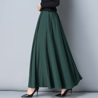 skirt Spring of 2018 S. M, l, XL, 2XL, custom size longuette Versatile High waist Pleated skirt Solid color Type A yamacq-01 brocade hemp Pockets, stitching