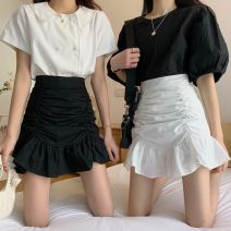skirt Summer 2020 S,M,L White, black Short skirt commute High waist skirt Solid color Type A 18-24 years old 30% and below other fold Korean version