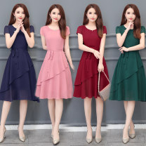Dress Summer 2021 M,L,XL,2XL,3XL,4XL Mid length dress singleton  Short sleeve commute Crew neck middle-waisted Solid color zipper routine Others 40-49 years old Type A Other / other Korean version Ruffle, stitching, zipper Chiffon
