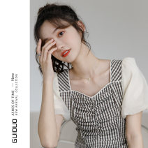 Dress Summer 2021 S M L XL Mid length dress singleton  Short sleeve commute square neck High waist lattice zipper A-line skirt puff sleeve Others 18-24 years old Type A Rose flower Korean version More than 95% other Other 100% Pure e-commerce (online only)