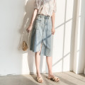 skirt Summer of 2019 S M L XL Picture color Mid length dress commute High waist Denim skirt Solid color Type A GD0332056 More than 95% Rose flower other Old and irregular Korean version Other 100% Exclusive payment of tmall