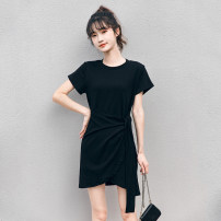 Dress Summer 2020 Black grey S M L XL Mid length dress singleton  Short sleeve commute Crew neck Elastic waist Solid color Socket A-line skirt routine Others 18-24 years old Rose flower Korean version Bandage GD0332635 More than 95% other Other 100% Exclusive payment of tmall