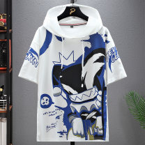 T-shirt Youth fashion routine M L XL 2XL 3XL 4XL Pasok Short sleeve Hood easy Other leisure summer Polyester 100% teenagers routine tide other Spring 2021 Geometric pattern printing polyester fiber Geometric pattern No iron treatment Domestic non famous brands More than 95%