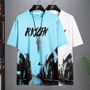 T-shirt Youth fashion 2028 black and white 2028 black yellow 2028 white black 2029 black blue white 2029 black and white gray 2029 black yellow white black white blue routine M L XL 2XL 3XL Pasok Short sleeve Crew neck easy Other leisure summer 051T12 teenagers routine tide other Summer 2021 printing