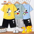 suit Mimi Mecca 110cm 120cm 130cm 140cm 150cm 160cm 165cm male summer motion Short sleeve + pants 4 pieces or more routine There are models in the real shooting Socket nothing Cartoon animation cotton children Expression of love MM1905051939 Class B Cotton 100% Summer of 2019 Chinese Mainland