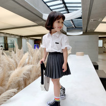 suit EYAE KIDS white 90cm,100cm,110cm,120cm,130cm,140cm female summer Korean version Short sleeve + skirt 2 pieces routine There are models in the real shooting Socket nothing Solid color cotton friend Giving presents at school B0278 Class B Cotton 90% other 10% Chinese Mainland Zhejiang Province