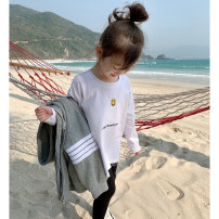 T-shirt white EYAE KIDS 90cm,100cm,110cm,120cm,130cm,140cm,150cm female spring and autumn Long sleeves Crew neck Korean version There are models in the real shooting nothing cotton other Cotton 95% other 5% T21110 Class B Three, four, five, six, seven, eight Chinese Mainland Zhejiang Province