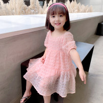 Dress Pink female EYAE KIDS 90cm,100cm,110cm,120cm,130cm,140cm Other 100% summer Korean version Short sleeve Solid color other other Q0228 Class B Three, four, five, six, seven, eight, nine Chinese Mainland Zhejiang Province Hangzhou