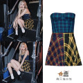 Dress Summer 2021 Plaid skirt S,M,L Short skirt singleton  Sleeveless commute Lotus leaf collar High waist lattice zipper A-line skirt Breast wrapping 18-24 years old Type A Korean version 81% (inclusive) - 90% (inclusive) other other