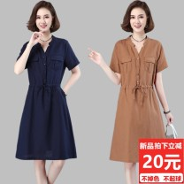 Dress Summer 2021 Navy, blue, light brown M,L,XL,2XL Mid length dress singleton  Short sleeve commute V-neck Loose waist Solid color Single breasted A-line skirt routine Others 40-49 years old Type H Other / other Simplicity Button, pocket, stitching, pleating, lace up, pleating, drawstring, waist
