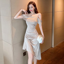 Dress Summer 2021 Champagne S,M,L Mid length dress singleton  Sleeveless commute One word collar High waist Solid color Socket Irregular skirt camisole 25-29 years old Type X Ol style Open back, stitching, asymmetry