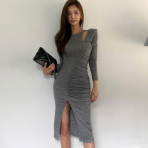 Dress Autumn 2020 dark grey S,M,L,XL Mid length dress singleton  Long sleeves commute Crew neck middle-waisted Solid color Socket One pace skirt routine Others 25-29 years old Type X Korean version Hollowed out, pleated, pleated, stitched