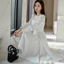 Dress Autumn 2020 white S,M,L,XL Mid length dress singleton  Long sleeves commute square neck High waist Solid color zipper Big swing puff sleeve Others 25-29 years old Korean version Ruffles, stitching, buttons, zippers