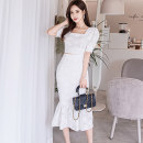 Dress Summer 2020 White (suit) S,M,L,XL Mid length dress Two piece set Short sleeve commute square neck middle-waisted Solid color zipper Ruffle Skirt puff sleeve Others 25-29 years old Type X Korean version Ruffles, hollowed out, open back, stitching, zipper