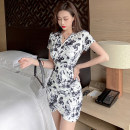 Dress Summer 2021 Black and white S,M,L Short skirt singleton  Short sleeve commute V-neck High waist Solid color Socket One pace skirt routine Others 25-29 years old Type X Ol style
