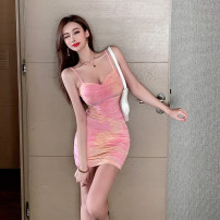 Dress Summer 2021 Pink tie dye S,M,L Short skirt singleton  Sleeveless commute One word collar middle-waisted Solid color zipper One pace skirt camisole 25-29 years old Type X Ol style Open back, stitching, tie dye, zipper