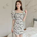 Dress Summer 2020 Picture color S,M,L,XL Short skirt singleton  Short sleeve commute square neck middle-waisted Decor zipper Pencil skirt puff sleeve Others 25-29 years old Type X Korean version Stitching, zipper, printing