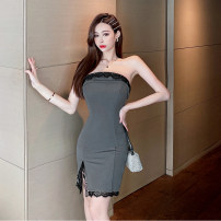 Dress Summer 2021 dark grey S,M,L Short skirt singleton  Sleeveless commute One word collar High waist Solid color zipper One pace skirt Breast wrapping 25-29 years old Type X Korean version polyester fiber