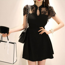 Dress Summer 2020 black S,M,L,XL Short skirt singleton  Short sleeve commute other middle-waisted Solid color A button other Others Korean version Ruffles, open back, stitching, buttons, lace