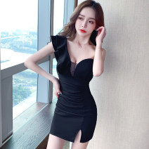 Dress Summer 2021 Red, green, black S,M,L Short skirt singleton  commute Slant collar High waist Solid color zipper One pace skirt Oblique shoulder 25-29 years old Type X Korean version Ruffle, open back, stitching, zipper