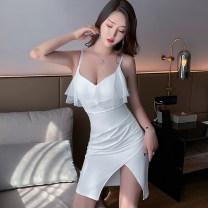 Dress Winter 2020 White, black S,M,L Short skirt singleton  commute V-neck High waist Solid color zipper Irregular skirt camisole 25-29 years old Type X Korean version Ruffle, open back, stitching, zipper