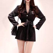 Dress Autumn of 2019 Stripe color S,M,L,XL Short skirt singleton  Long sleeves commute tailored collar middle-waisted stripe other other routine Others Type X Other / other Ol style Button, button
