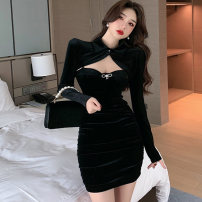 Dress Winter 2020 Violet, black S,M,L Short skirt Two piece set Long sleeves commute stand collar middle-waisted Solid color A button One pace skirt routine Others 25-29 years old Type X Korean version Hollowed out, pleated, stitched, button
