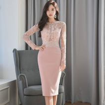 Dress Spring 2020 Black, pink S,M,L,XL Mid length dress singleton  Long sleeves commute Crew neck middle-waisted Solid color zipper One pace skirt routine Others 25-29 years old Type X Korean version Backless, stitching, zipper, lace