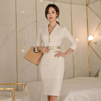 Dress Autumn of 2019 white S,M,L,XL Mid length dress singleton  three quarter sleeve commute tailored collar middle-waisted Solid color zipper Pencil skirt routine Others Type X Ol style Panel, button, zipper