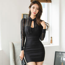Dress Winter of 2019 black S,M,L,XL Short skirt singleton  Long sleeves commute Polo collar High waist Solid color zipper One pace skirt routine Others 25-29 years old Type X Ol style