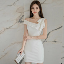 Dress Summer 2020 white S,M,L,XL Short skirt singleton  Sleeveless commute Slant collar middle-waisted Solid color zipper One pace skirt Oblique shoulder 25-29 years old Type X Korean version Ruffle, open back, fold, stitching, zipper