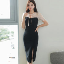 Dress Autumn 2020 Picture color S,M,L,XL Mid length dress singleton  Short sleeve commute Crew neck High waist Solid color zipper One pace skirt puff sleeve Others 25-29 years old Type X Korean version Bowknot, hollow out, lace up, stitching, zipper