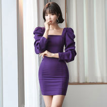 Dress Spring 2020 violet S,M,L,XL Short skirt singleton  Long sleeves commute square neck middle-waisted Solid color zipper One pace skirt puff sleeve Others 25-29 years old Type X Korean version Pleats, stitching, buttons, zippers