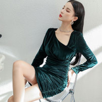 Dress Winter 2020 green S,M,L,XL Short skirt singleton  Long sleeves commute Slant collar middle-waisted Solid color zipper One pace skirt routine Others 25-29 years old Type X Korean version Bowknot, open back, fold, lace up, stitching, zipper