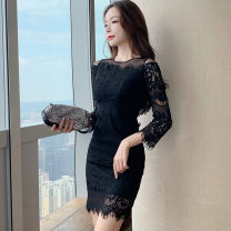 Dress Winter 2020 Apricot, black S,M,L,XL Short skirt singleton  Long sleeves commute Crew neck High waist Solid color zipper One pace skirt routine Others 25-29 years old Type X Korean version Backless, stitching, zipper, lace