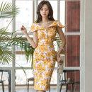 Dress Summer 2020 Lemon yellow S,M,L,XL Middle-skirt singleton  Sleeveless commute V-neck High waist Decor zipper Pencil skirt Others 25-29 years old Type X Korean version Open back, stitching, button, zipper, print