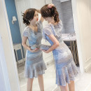 Dress Spring of 2019 blue S,M,L,XL,2XL Mid length dress singleton  Short sleeve commute V-neck middle-waisted Solid color zipper Ruffle Skirt Flying sleeve Others Type H Korean version Ruffle, stitching, zipper, lace, print
