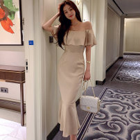Dress Winter 2020 Picture color S,M,L,XL longuette singleton  commute One word collar middle-waisted Solid color zipper One pace skirt Lotus leaf sleeve Others 25-29 years old Type X Korean version Ruffle, open back, stitching, zipper
