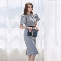 Dress Summer 2020 grey S,M,L,XL Mid length dress singleton  Short sleeve commute Crew neck High waist Solid color zipper One pace skirt routine Others Type X Other / other Korean version Pleats, stitches, zippers
