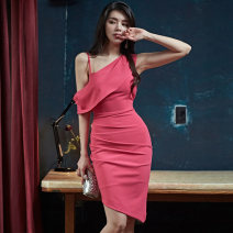 Dress Summer 2020 Pink S,M,L,XL Middle-skirt singleton  Sleeveless commute Slant collar middle-waisted Solid color zipper Irregular skirt Oblique shoulder 25-29 years old Type X Korean version Backless, pleated, stitched, asymmetrical, zipper