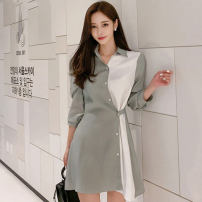 Dress Spring 2020 Army green, black S,M,L,XL Short skirt singleton  Long sleeves commute Polo collar High waist Solid color Single breasted A-line skirt shirt sleeve Others 25-29 years old Type A Korean version Button, button
