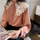 Women's large Autumn of 2019 shirt singleton  commute easy moderate Socket Long sleeves Solid color Korean version other routine polyester Three dimensional cutting routine other 25-29 years old Lace stitching 30% and below Hollowing out