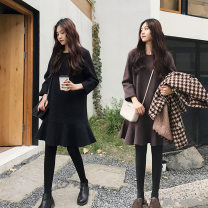 Women's large Autumn of 2019 Black [collect and buy gifts], brown [collect and buy gifts] L [recommended 90-120 kg], XL [recommended 120-140 kg], XXL [recommended 140-160 kg], 3XL [recommended 160-180 kg], 4XL [recommended 180-200 kg] Dress singleton  commute easy moderate Socket Long sleeves routine
