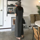 Dress Summer 2020 dark gray M (recommended 85-120 kg), l (recommended 120-140 kg), XL (recommended 140-165 kg), 2XL (recommended 165-210 kg) longuette singleton  Short sleeve commute Crew neck Loose waist Solid color Socket One pace skirt routine Others Korean version knitting cotton