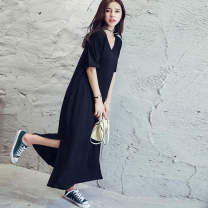 Dress Summer 2020 black Average size longuette singleton  Short sleeve commute V-neck Loose waist Solid color Socket One pace skirt routine Others Type H Korean version Pockets, stitching More than 95% modal