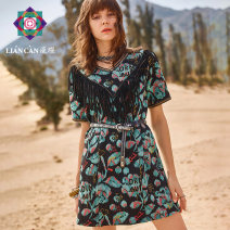 Dress Spring 2021 Colorful flowers on black background S M L Middle-skirt singleton  Short sleeve commute V-neck Loose waist routine 25-29 years old Type H Lian can ethnic style 71201TM25001 More than 95% cotton Cotton 100% Same model in shopping mall (sold online and offline)
