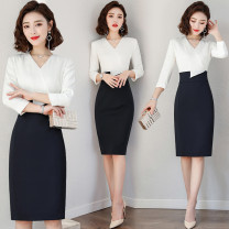 Dress Summer of 2019 Dress S M L XL XXL XXXL Middle-skirt singleton  Nine point sleeve commute V-neck High waist Solid color Socket A-line skirt routine Others 25-29 years old Type X J-ME Ol style Q3111 More than 95% brocade polyester fiber Polyester 95% polyurethane elastic fiber (spandex) 5%