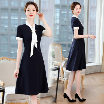 Dress Summer of 2019 Navy Blue S M L XL XXL XXXL Mid length dress singleton  Short sleeve commute Scarf Collar middle-waisted Solid color Socket Big swing other Others 25-29 years old Type A J-ME Ol style Q120 More than 95% Chiffon polyester fiber Polyester 95% polyurethane elastic fiber (spandex) 5%