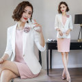 Professional dress suit S M L XL XXL XXXL Suit (white) dress (pink) suit + dress Autumn of 2018 Long sleeves A965a+Q3686 Coat other styles Suit skirt 25-35 years old J-ME Polyester 100% Pure e-commerce (online only)
