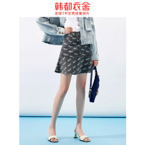 skirt Autumn 2020 S M L grey Short skirt Versatile High waist Denim skirt Broken flowers 18-24 years old TK00817/ 51% (inclusive) - 70% (inclusive) Hstyle / handu clothing house cotton pocket Cotton 66.9% polyester 22.7% viscose (viscose) 9.4% polyurethane elastic (spandex) 1%